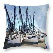 Shrimp Boats At Darien Throw Pillow