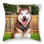 Siberian Husky Digital Art A030819 Throw Pillow by Mas Art Studio