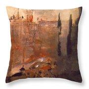 Siege Of A Castle 1910 Throw Pillow