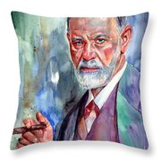 Sigmund Freud Portrait II Throw Pillow