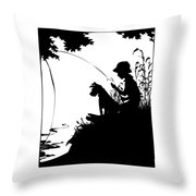 Silhouette Of A Boy Fishing With His Dog Throw Pillow by Rose Santuci-Sofranko