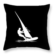 Silhouette Of A Sportsman Doing Windsurfing On His Board With Sail Throw Pillow