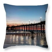 Silhouette Of Surfer At Huntington Throw Pillow