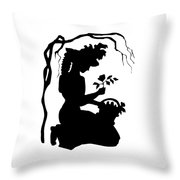 Silhouette Woman Picking Roses Throw Pillow by Rose Santuci-Sofranko