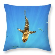 Silky Shark Throw Pillow by Nicole Young