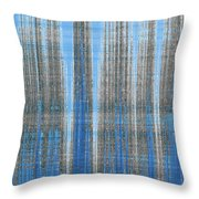 Silver Blue Plaid Abstract #4 Throw Pillow by Patti Deters