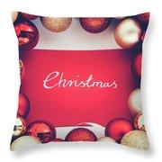 Silver Christmas Writing And Christmas Glass Balls. Throw Pillow