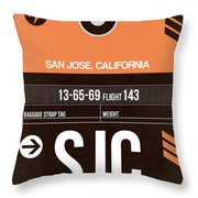 Sjc San Jose Luggage Tag II Throw Pillow