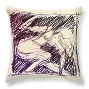 Sketch Of Woman Throw Pillow