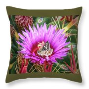 Skipper On Cactus Bloom Throw Pillow