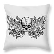 Skull And Wings Throw Pillow