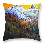 Sky Pilot And Co-pilot Peaks, Coastal Range, South Of Squamish, British Columbia Throw Pillow