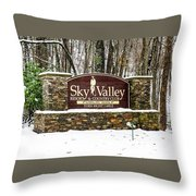 Sky Valley Georgia Welcome Sign In The Snow Throw Pillow