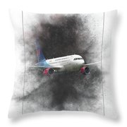 Slovak Government Flying Service Airbus A319-115 Painting Throw Pillow