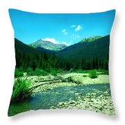 Small Stream Foreground The Rockies Throw Pillow