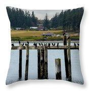 Small Village Along The Columbia River Throw Pillow by Mae Wertz