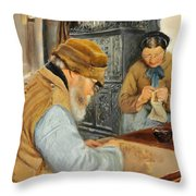 Smallholders In The Village Of Ring Throw Pillow