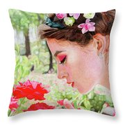 Smelling The Roses Throw Pillow