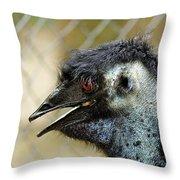 Smiley Face Emu Throw Pillow