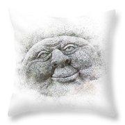 Smiling Stone Face Throw Pillow