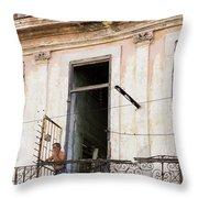 Smoker On Balcony In Cuba Throw Pillow