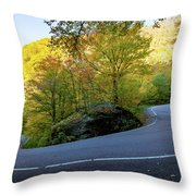 Smuggler's Notch Hairpin Turn Throw Pillow by Jeff Folger