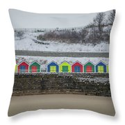 Snow At Barry Island Throw Pillow