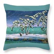 Snow At Hi Marsh, Mito - Digital Remastered Edition Throw Pillow