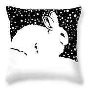 Snow Bunny Rabbit Holiday Winter Throw Pillow