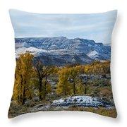 Snow Falls On Autumn Throw Pillow