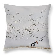 Snow Geese Over Oil Pump 01 Throw Pillow by Rob Graham