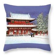 Snow In The Heianjingu Shrine - Digital Remastered Edition Throw Pillow