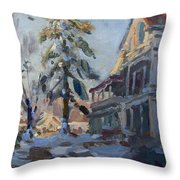 Snow In Town Throw Pillow