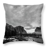 Snow In Yosemite Valley II Throw Pillow