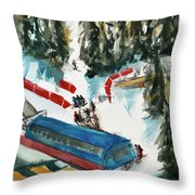 Snowbird Lift Study Throw Pillow