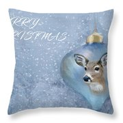 Snowy Deer Ornament Christmas Image Throw Pillow