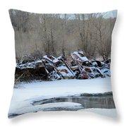 Snowy Graveyard Throw Pillow