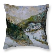 Snowy Natural Landscape Throw Pillow