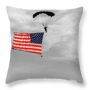 Socom Flag Jump In Selective Color Throw Pillow by Doug Camara