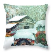 Softly Snowing On The Country Farm Throw Pillow