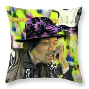 Sonic Exploration - A Jimi Hendrix Portrait Throw Pillow