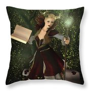 Sorceress And Magic Throw Pillow