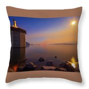 South Holston By Moon And Firelight Throw Pillow