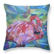 Sparkling Flamingo Throw Pillow