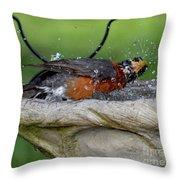 Splish-splash I Was Taking A Bath - American Robin Throw Pillow