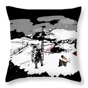 Spots In Snow In Black And White  Throw Pillow