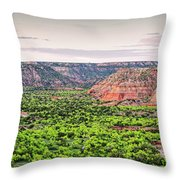 Sprawling Panorama Of Palo Duro Canyon And Capitol Peak - Texas State Park Amarillo Panhandle Throw Pillow