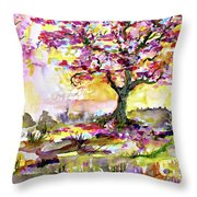 Spring Blossom Tree Warm Watercolor Throw Pillow by Ginette Callaway