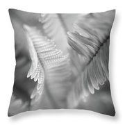 Spring Fern Macro In Black And White Throw Pillow