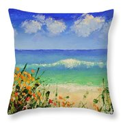 Spring Flowers And Sea And Clouds Throw Pillow